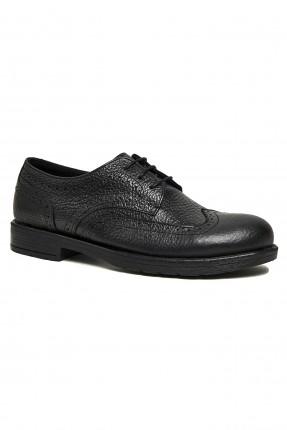 حذاء رجالي جلد بثقوب - اسود