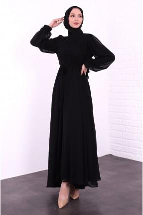 فستان رسمي بياقة دائرية - اسود