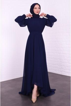 فستان رسمي بتول على الاكمام - كحلي