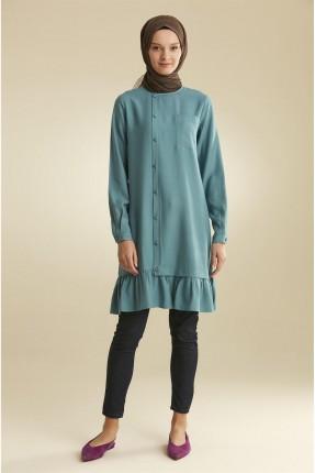 قميص نسائي مزين بكشكش - ازرق