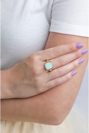 خاتم نسائي مزين بحجر ملون - اخضر