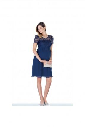 فستان رسمي حمل مزين بدانتيل - كحلي