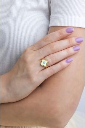 خاتم نسائي موديل وردة - اصفر