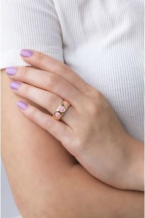 خاتم نسائي مزين برسومات - زهري