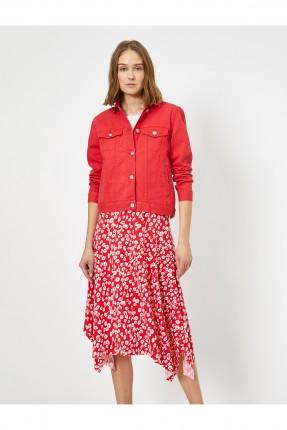 جاكيت نسائي جينز سادة اللون - احمر