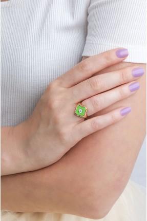 خاتم نسائي موديل وردة - اخضر
