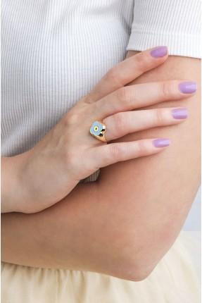 خاتم نسائي موديل وردة - ازرق