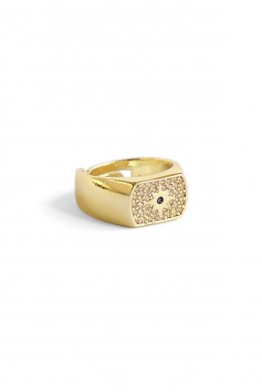 خاتم نسائي مزين بنقشة - ذهبي