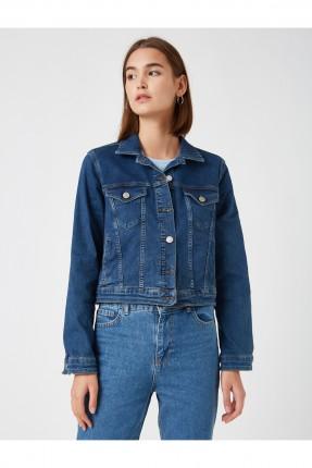 جاكيت نسائي جينز مزين بجيوب على الصدر