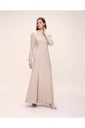 فستان باكمام طويلة سادة اللون - بيج