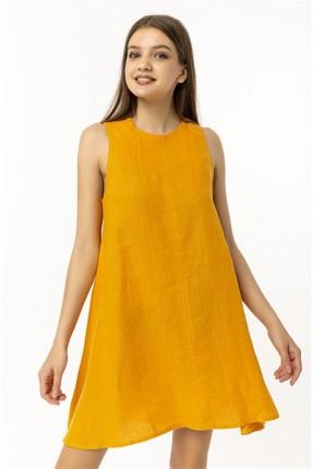 فستان نسائي سادة - برتقالي
