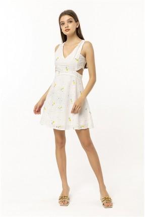 فستان نسائي مزهر - ابيض