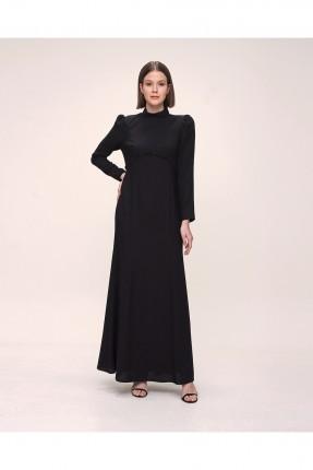 فستان باكمام طويلة سادة - اسود