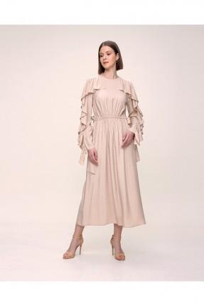 فستان مزين بكشكشة على الاكمام - بيج