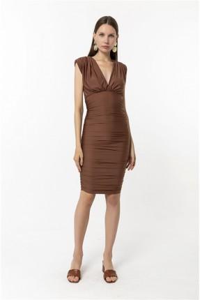 فستان نسائي رسمي بياقة V - بني