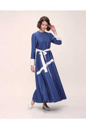 فستان مزين بحزام ربط على الخصر