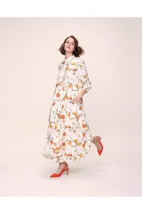 فستان مزين بنقشة ورود ملونة