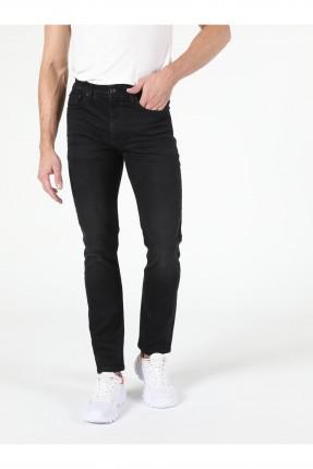 بنطال رجالي جينز سادة اللون - اسود