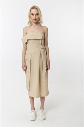 فستان نسائي سادة اللون - بيج