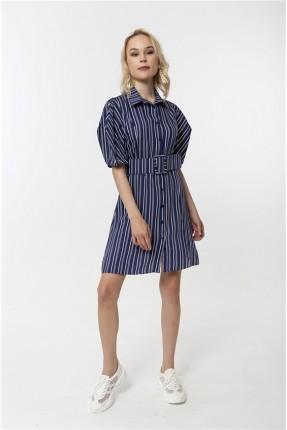فستان نسائي موديل قميص مقلم - كحلي