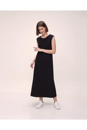 فستان طويل حفر - اسود