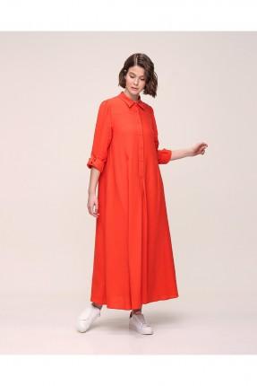 فستان سادة اللون مزين بازرار