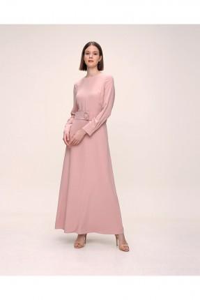 فستان باكمام طويلة سادة اللون - زهري