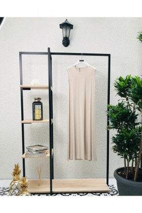 فستان سادة بياقة دائرية - بيج