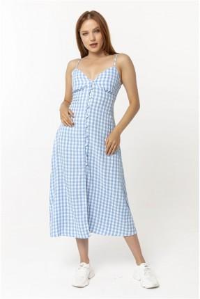 فستان نسائي بربطة على الظهر - ازرق
