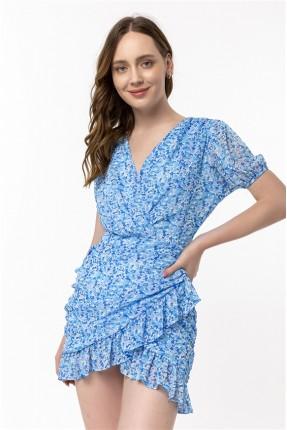 فستان نسائي مزين بكشكش - ازرق