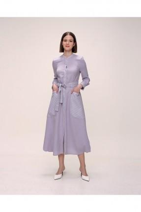 فستان باكمام طويلة وبجيوب - بنفسجي