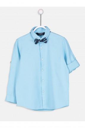 قميص اطفال ولادي سادة مع بببيون - تركواز