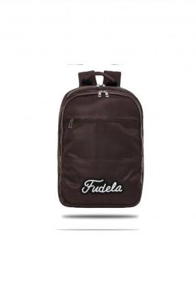 حقيبة ظهر رجالية بطبعة كتابة - بني