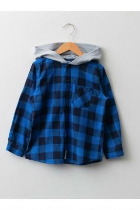قميص اطفال ولادي مزين بكابيشون - ازرق