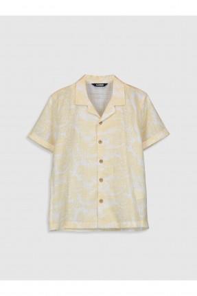 قميص اطفال ولادي مزين برسمة ورق شجر - بيج