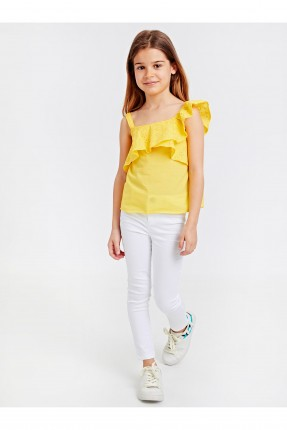 بلوز اطفال بناتي مزين بكشكش - اصفر