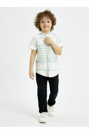 قميص اطفال ولادي مخطط - ابيض