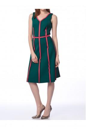 فستان نسائي بياقة V - اخضر