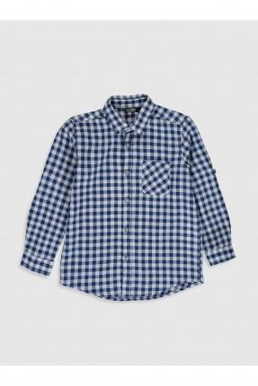 قميص اطفال ولادي كاروهات - كحلي