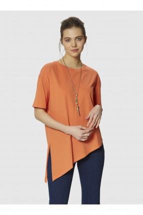 بلوز نسائي غير متوازي الطول - برتقالي
