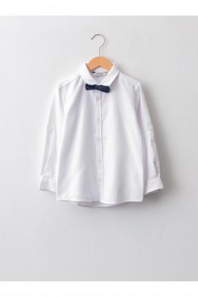 قميص اطفال ولادي مزين بببيون - ابيض