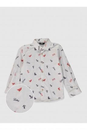 قميص اطفال ولادي مزين برسومات - ابيض