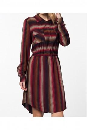 فستان نسائي مزين بجيوب على الصدر - احمر