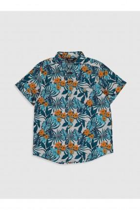 قميص اطفال ولادي مزين برسمة ورق شجر