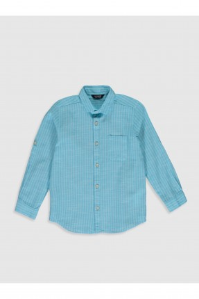 قميص اطفال ولادي مزين بجيب على الجانب - ازرق