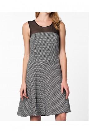 فستان نسائي مزين بنقشة - فضي