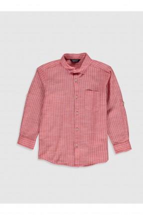 قميص اطفال ولادي مقلم - احمر