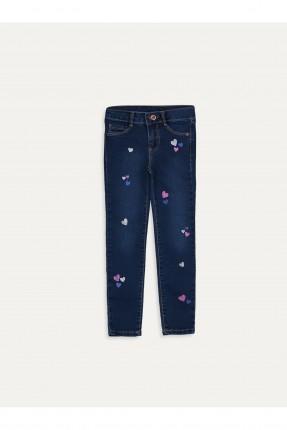 بنطال جينز اطفال بناتي سليم مزين بقلوب ملونة