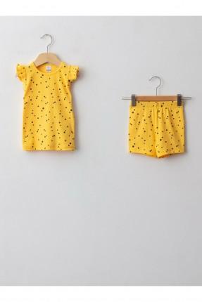 بيجاما بيبي بناتي منقطة - اصفر