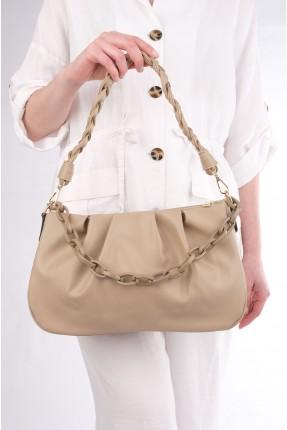 حقيبة يد نسائية مزينة بجدلة - بيج